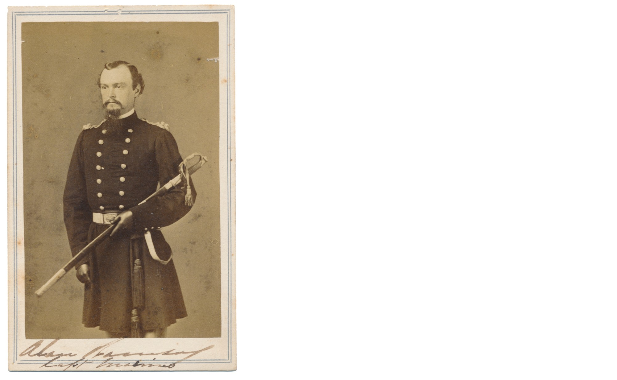 CIVIL WAR MARINE CORPS CAPTAIN ALAN RAMSAY WAR-DATE SIGNED CDV; WITNESS TO LINCOLN'S GETTYSBURG ADDRESS