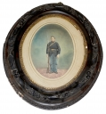 OVAL FRAMED & TINTED ALBUMEN PHOTO OF ARMED 51ST PENNSYLVANIA SOLDIER