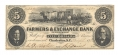 FARMERS & EXCHANGE BANK, CHARLESTON SOUTH CAROLINA $5 NOTE