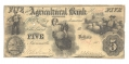 THE AGRICULTURAL BANK OF TENNESSEE $5 NOTE