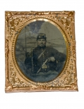SIXTH PLATE TINTYPE OF U.S. CAVALRY ENLISTEDMAN