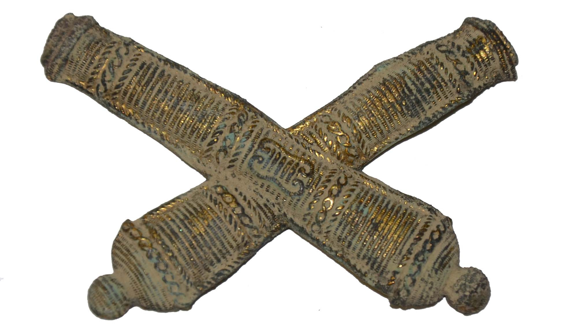 FALSE EMBROIDERED ARTILLERY INSIGNIA RECOVERED AT BRANDY STATION
