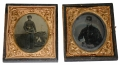 EXTRAORDINARY PAIR OF IDENTIFIED IMAGES OF TWO MEMBERS OF COWAN'S 1ST NEW YORK LIGHT ARTILLERY - BOTH KILLED AT GETTYSBURG, JULY 3, 1863!