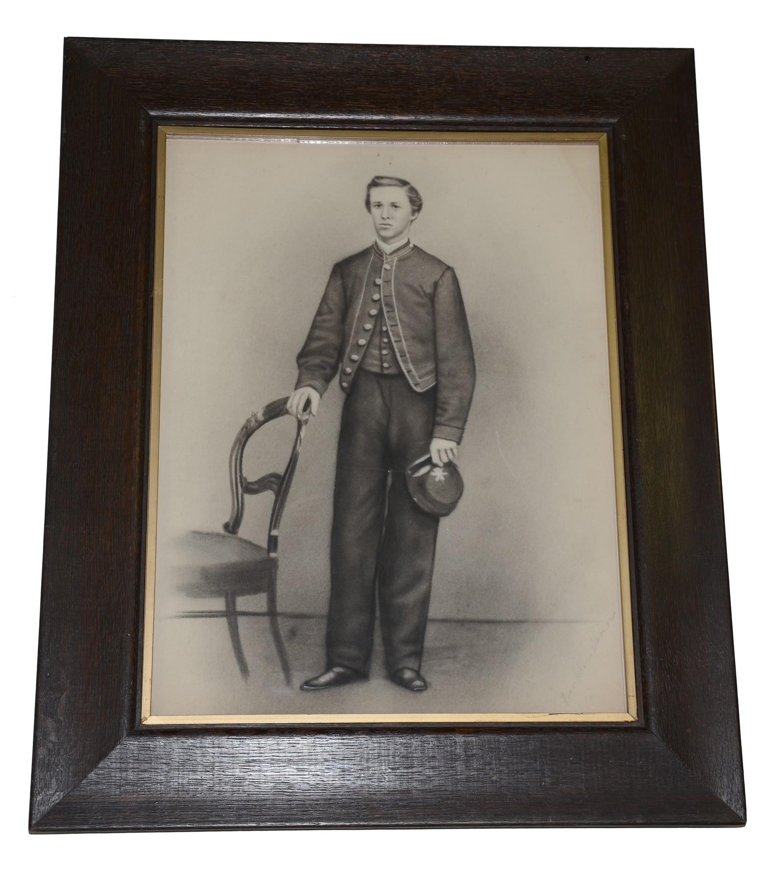 Wonderful framed pencil sketch of 15th pennsylvania cavalry trooper