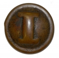 "RARE AUTHENTIC, NON-DUG CONFEDERATE CAST BLOCK ""I"" COAT BUTTON"
