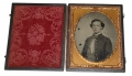 ¼ PLATE AMBROTYPE OF PRIVATE HENRY HOBSON, CO. E, 41ST VIRGINIA INFANTRY