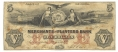 MERCHANTS AND PLANTERS BANK, SAVANNAH, GEORGIA, $5 NOTE