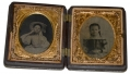 EIGHTH PLATE AMBROTYPES OF TWO GIRLS IN PATRIOTIC CASE