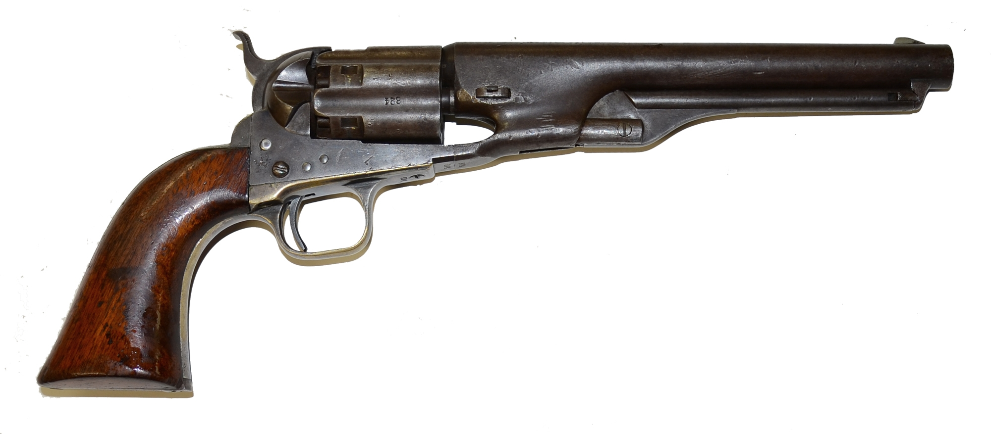 IDENTIFIED M-1860 COLT ARMY REVOLVER WITH FLUTED CYLINDER, S/N 824