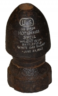 "US 3.67"" HOTCHKISS SHELL, RECOVERED AT WHITE OAK SWAMP, VA"