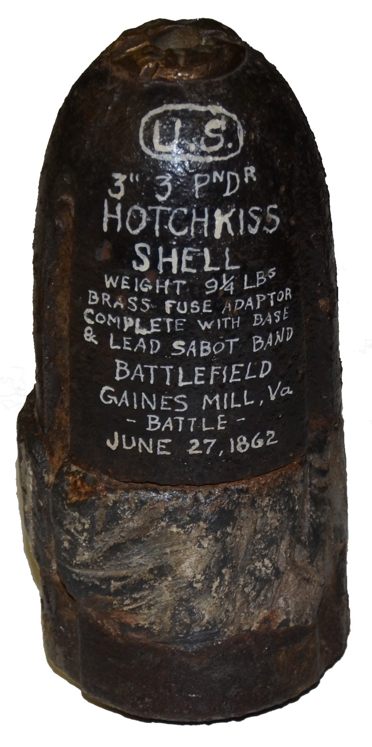 US 3 INCH HOTCHKISS SHELL RECOVERED AT GAINES' MILL, VA