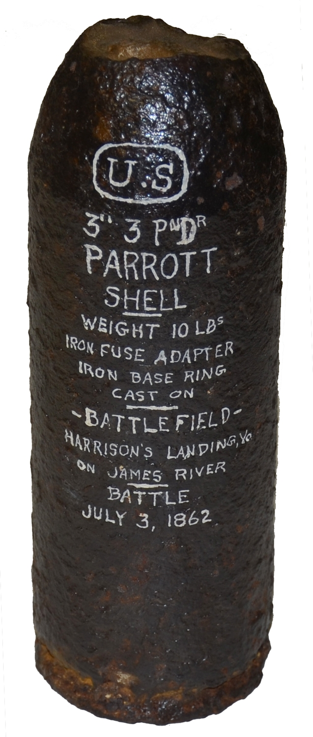 US 3 INCH 10 POUND PARROTT SHELL RECOVERED AT HARRISON'S LANDING, VA, ON THE JAMES RIVER