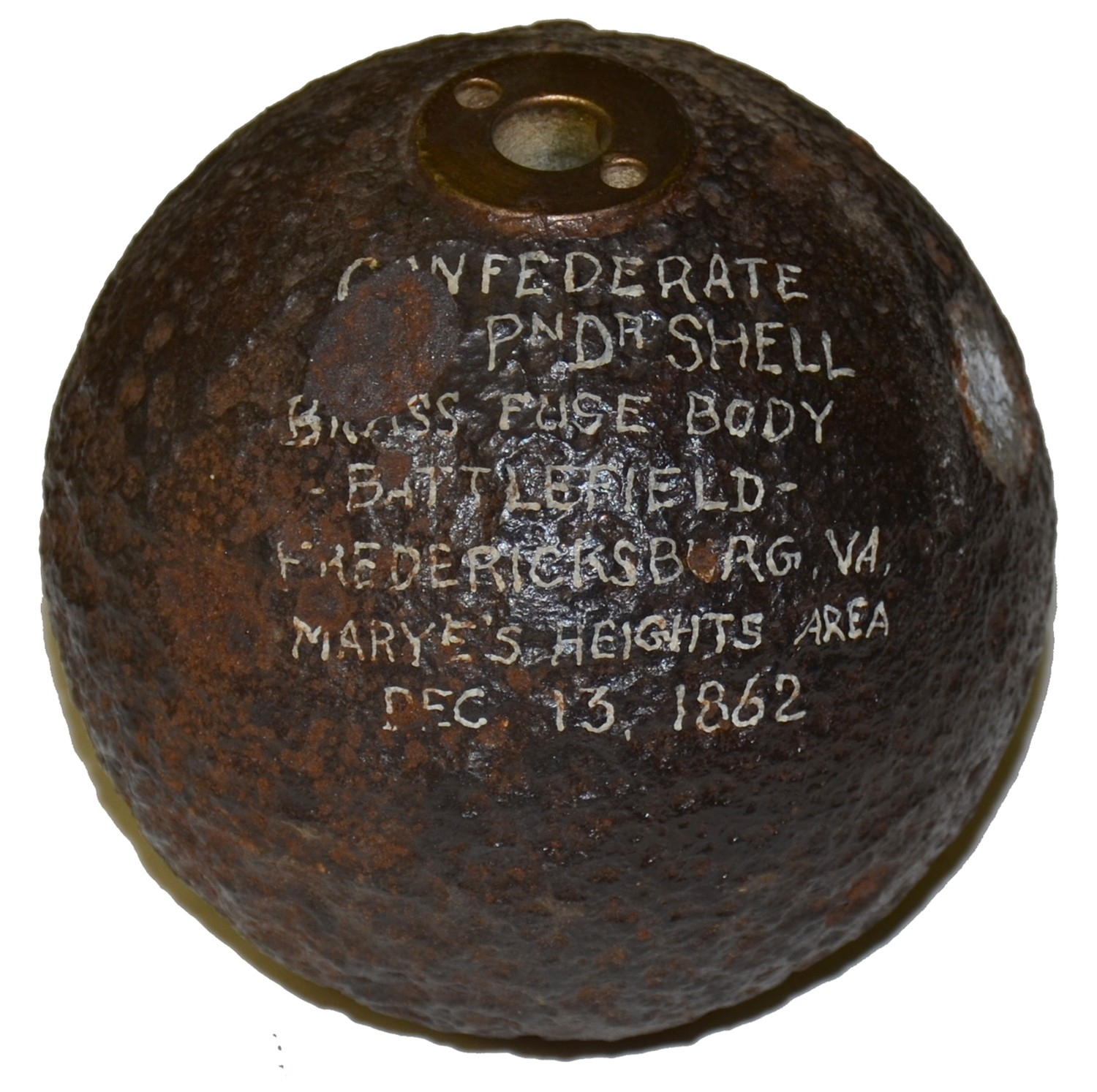 CS 4.52 INCH 12 POUND SPHERICAL CASE-SHOT LEAD SIDE-LOADER SHELL, RECOVERED AT FREDERICKSBURG, VA NEAR MARYE'S HEIGHTS