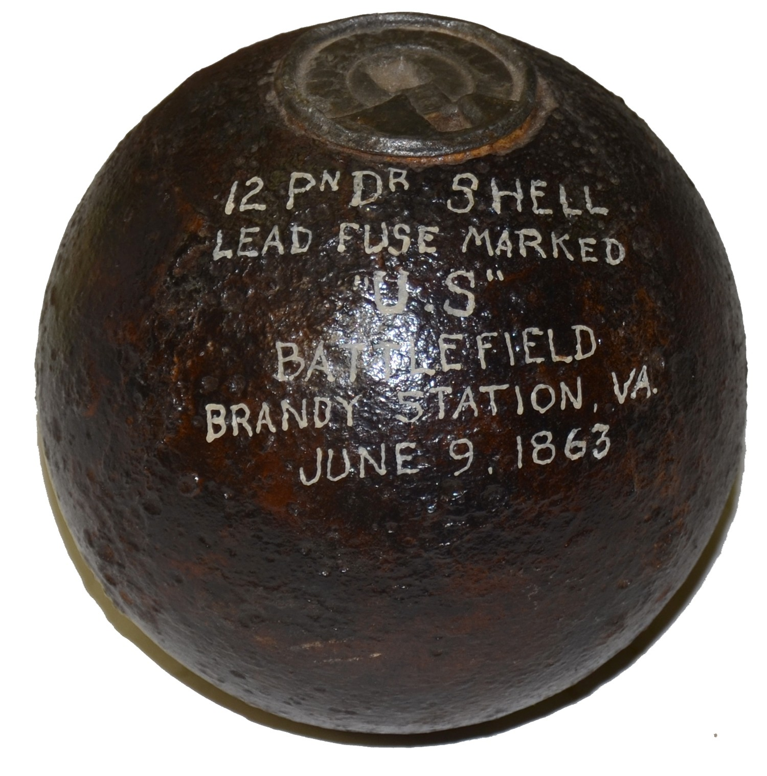 US 4.52 INCH 12 POUND SPHERICAL BORMANN FUSED SHELL RECOVERED AT BRANDY STATION, VA