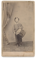 FULL STANDING CDV OF SPRINGFIELD ILLINOIS BOY WITH DRUM