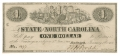 STATE OF NORTH CAROLINA $1 BILL DATED 1863