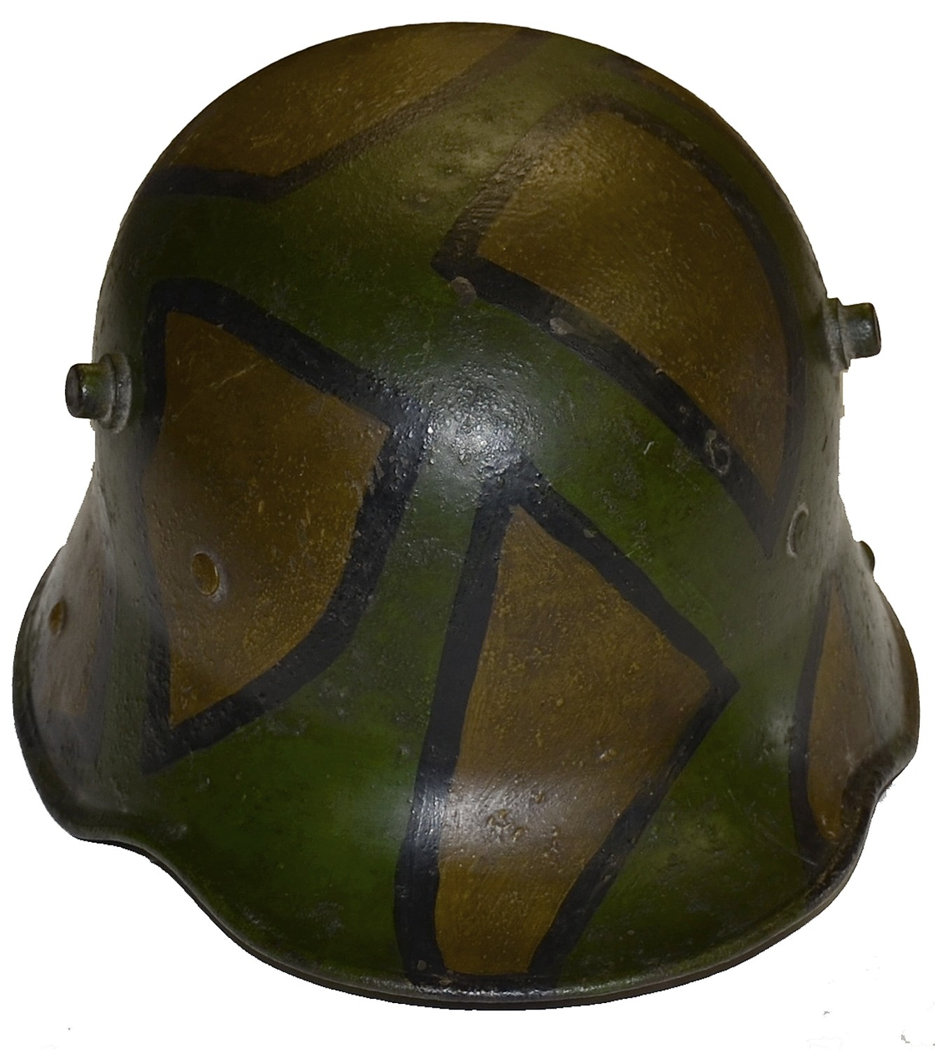MODEL 1916 CAMMO GERMAN HELMET WITH NAME OF US SOLDIER WHO MAILED IT HOME