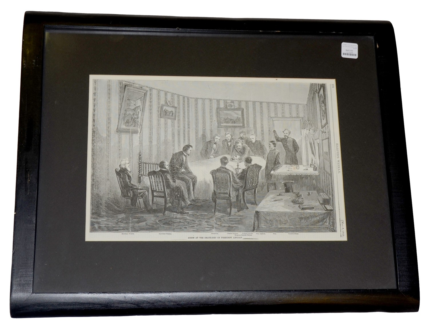 FRAMED LINCOLN DEATHBED ENGRAVING