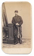 CDV FULL STANDING VIEW OF 15TH PENNSYLVANIA CAVALRY ENLISTED MAN