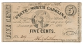 STATE OF NORTH CAROLINA FIVE CENT NOTE