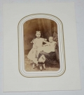 WONDERFUL 1864 DATED IDENTIFIED CDV OF TWO LITTLE GIRLS & TOY PONY - TROY, NY