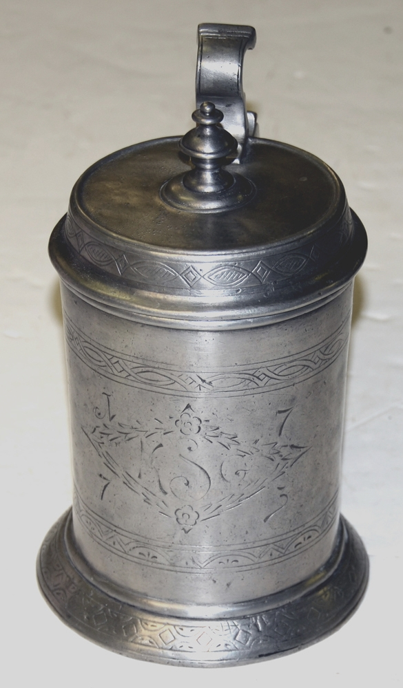 PEWTER BEER TANKARD, 1773
