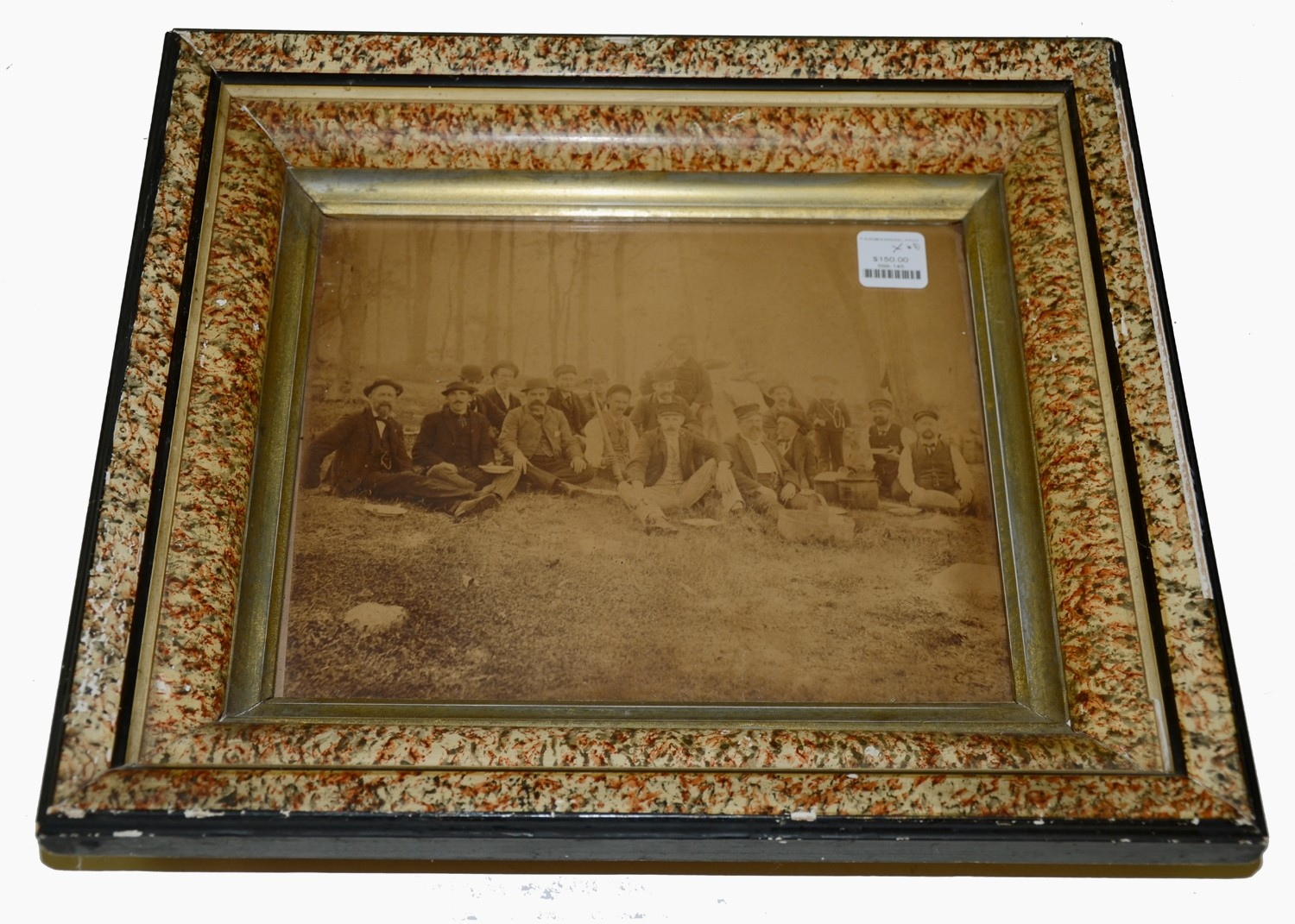 FRAMED GROUP ALBUMEN WITH BASEBALL THEME