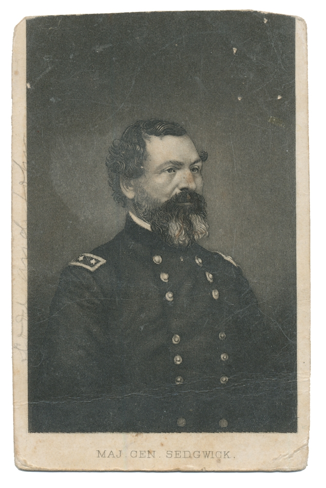 LITHOGRAPH CDV OF MAJ. GEN. JOHN SEDGWICK WITH INSCRIPTION ON REVERSE BY 2ND  VERMONT SOLDIER ONCE CAPTURED AND TWICE WOUNDED
