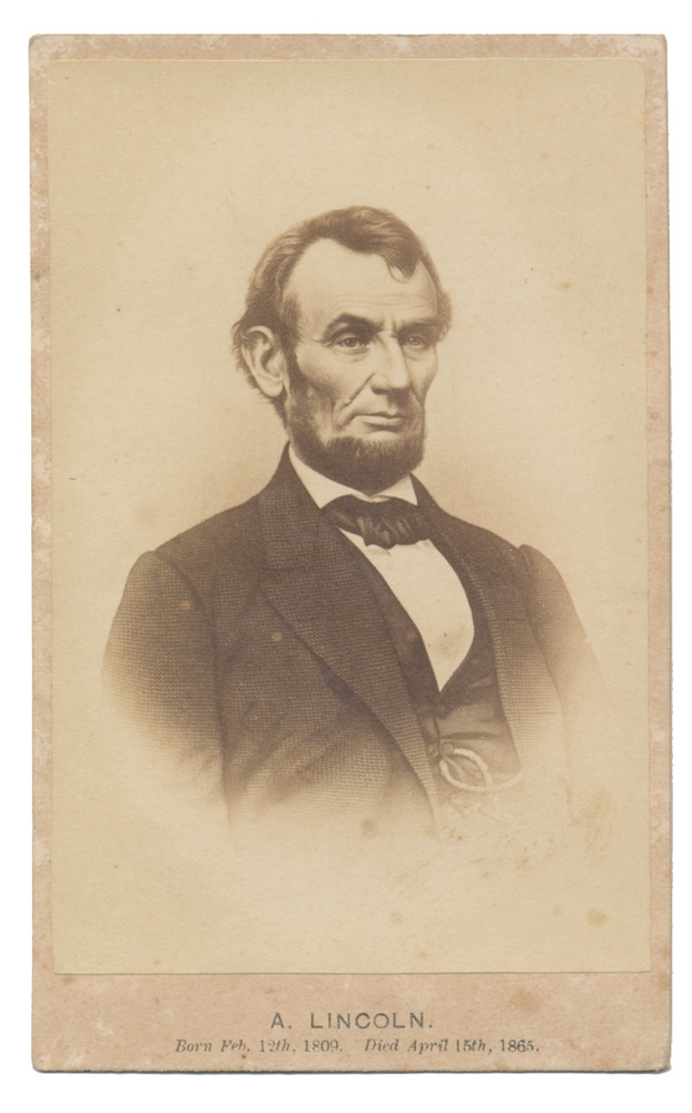 CDV ETCHING OF PRESIDENT ABRAHAM LINCOLN