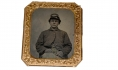 IDENTIFIED 1/6 PLATE TINTYPE OF UNION SOLDIER – ALBERT H. KENT, 1ST MASSACHUSETTS HEAVY ARTILERY