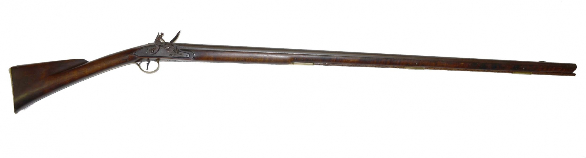 ATTRACTIVE NEW ENGLAND FLINTLOCK FOWLER ATTRIBUTED TO WELCOME MATHEWSON OF RHODE ISLAND