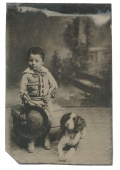 1/8 PLATE TINTYPE OF LITTLE BOY AND HIS DOG