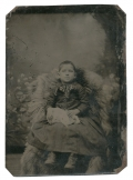 TINTYPE OF A YOUNG GIRL WITH A RABBIT