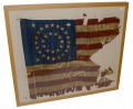 FRAMED SILK CAVALRY GUIDON WITH 35 STARS