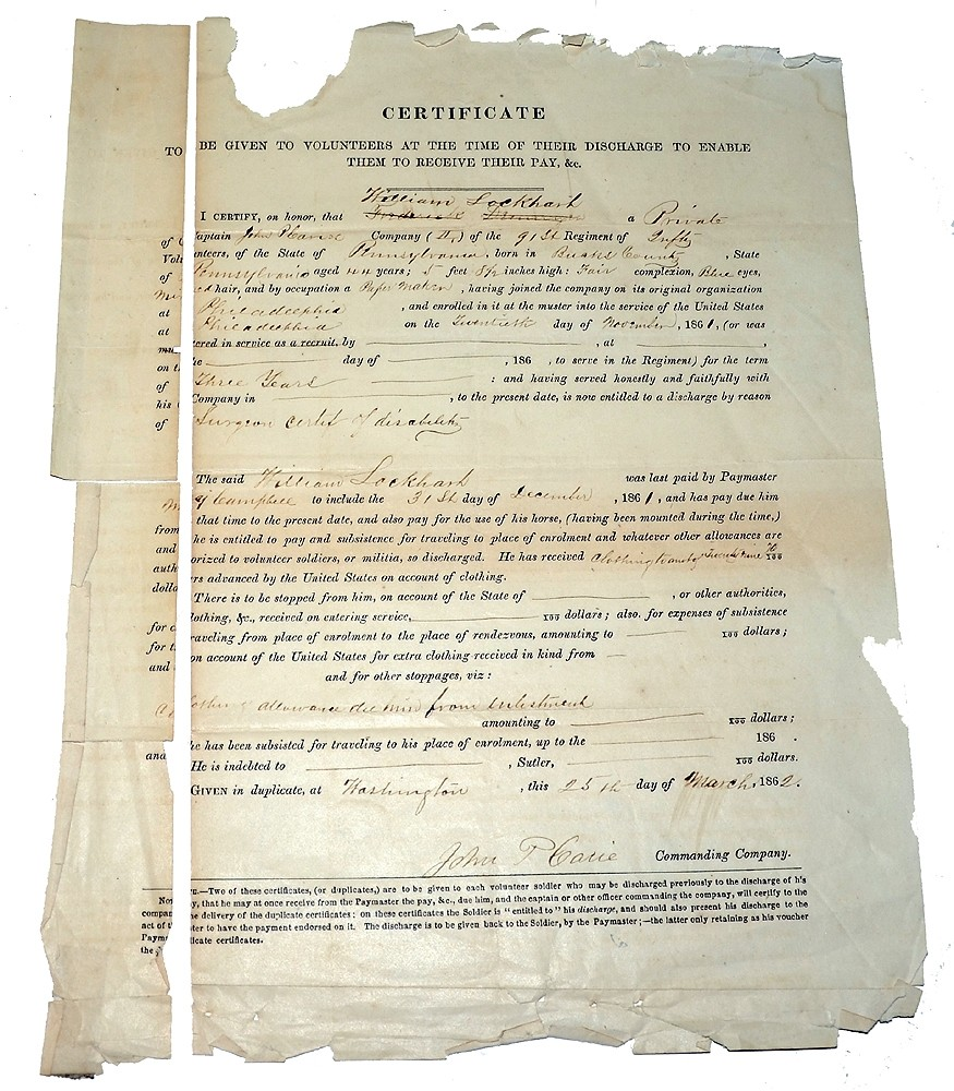 DISCHARGE CERTIFICATE FOR 91ST PENNSYLVANIA SOLDIER