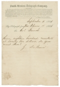 1861 SOUTH-WESTERN TELEGRAPH CO. TELEGRAM REGARDING SALE OF MUSKETS