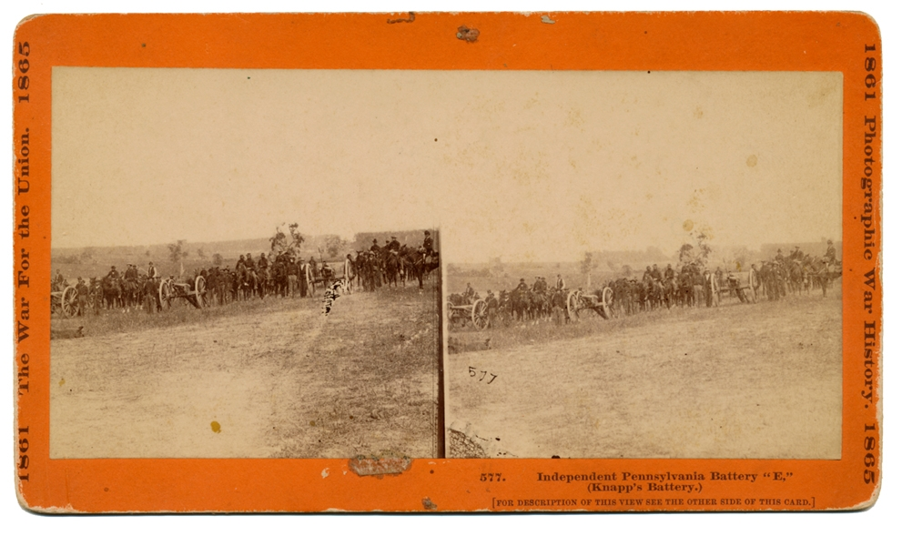 """WAR FOR THE UNION"" STEREO CARD OF KNAPP'S BATTERY"