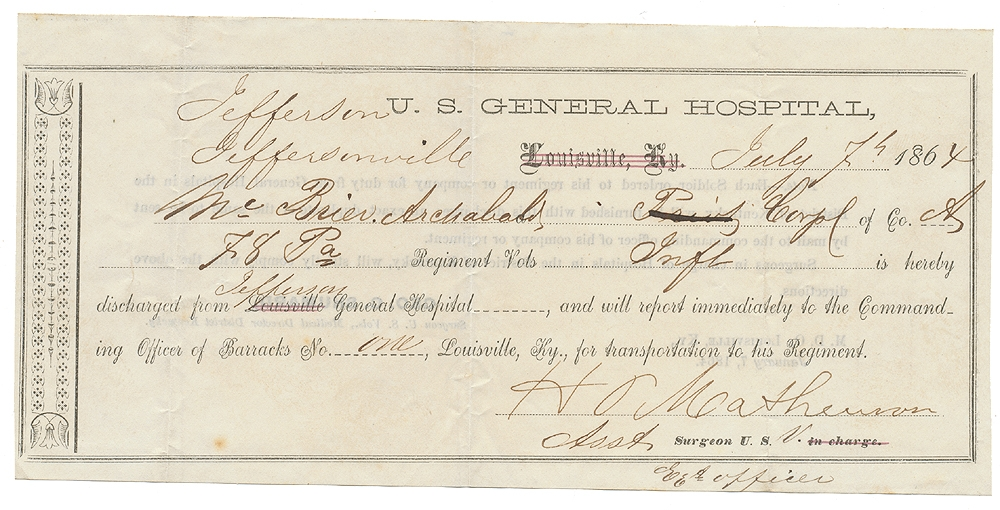 1864 PASS FOR 78TH PENNSYLVANIA SOLDIER TO RETURN TO HIS REGIMENT FROM JEFFERSON US GENERAL HOSPITAL