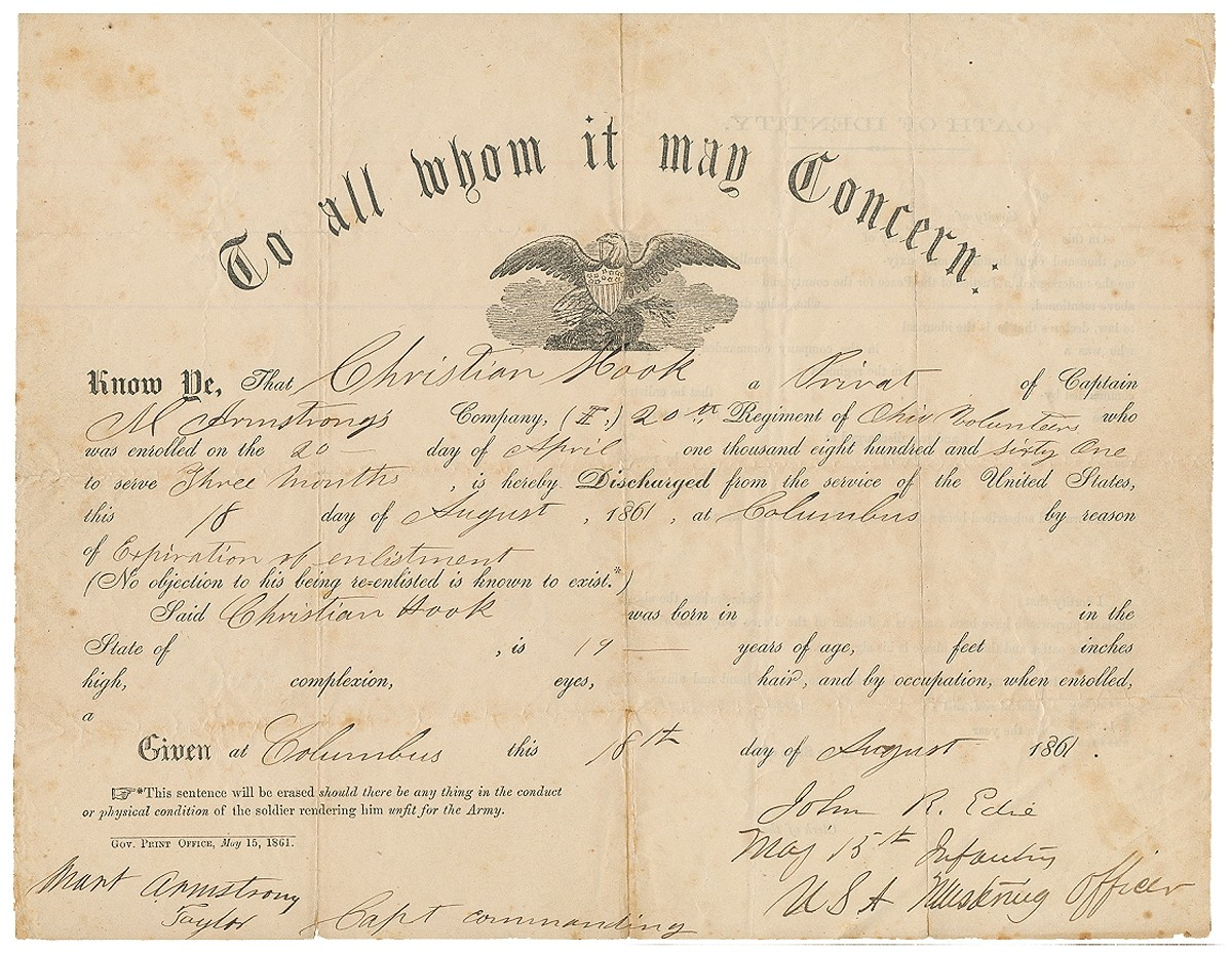 DISCHARGE FOR SOLDIER IN 20TH OHIO VOLUNTEERS