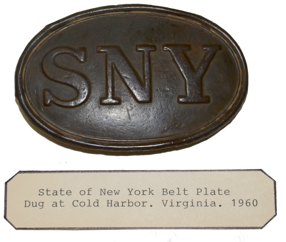 "RELIC STATE OF NEW YORK ""SNY"" BELT PLATE FROM COLD HARBOR"