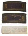 PAIR OF SMITH PATENT 1ST LIEUTENANT SHOULDER STRAPS ATTRIBUTED TO 147TH PENNSYLVANIA OFFICER