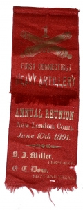 1891 REUNION RIBBON FOR THE 1ST CONNECTICUT HEAVY ARTILLERY