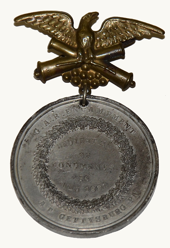 G.A.R. MEDAL- DEDICATION OF MONUMENTS IN GETTYSBURG – 1886