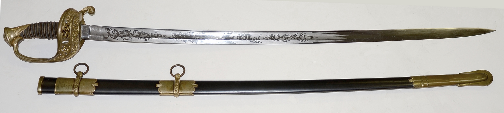 AMES M1850 STAFF & FIELD OFFICER'S SWORD PRESENTED TO 121ST NEW YORK LIEUTENANT