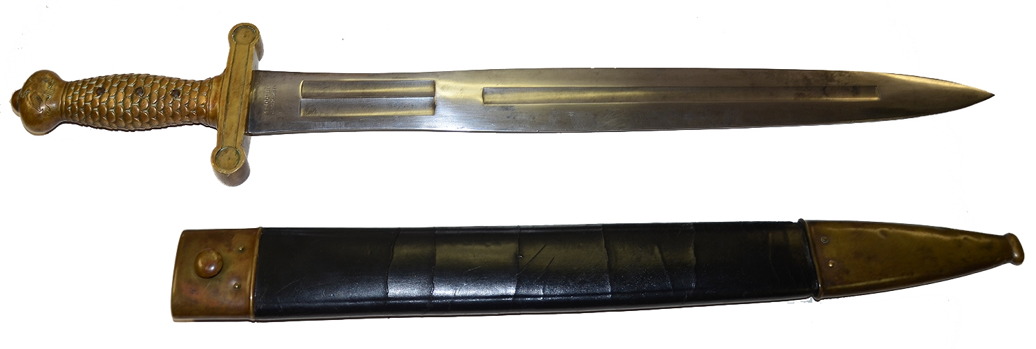 NEAR MINT AMES 1832 PATTERN SHORT SWORD AND SCABBARD DATED 1855