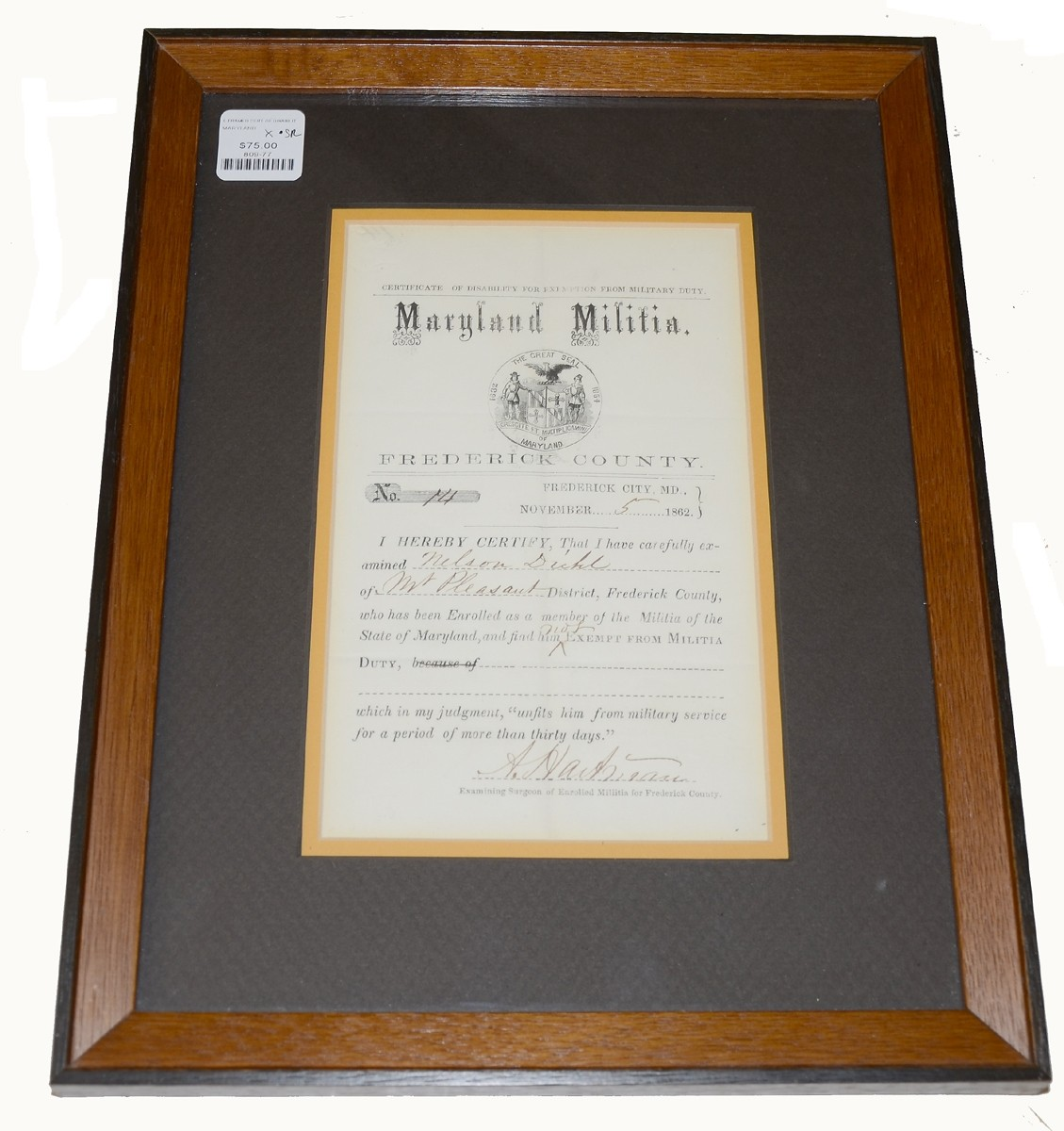 MARYLAND MILITIA EXEMPTION CERTIFICATE