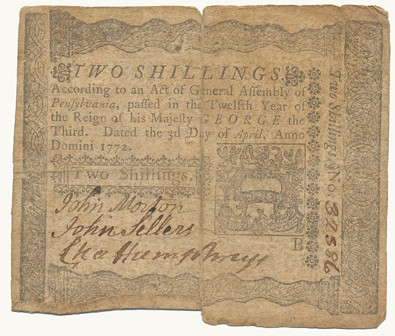 PENNSYLVANIA 1772 TWO SHILLING NOTE