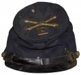 IDENTIFIED ENLISTED ARTILLERYMAN'S FORAGE CAP WITH INSIGNIA FROM BATTERY E, FIRST PENNSYLVANIA LIGHT ARTILLERY