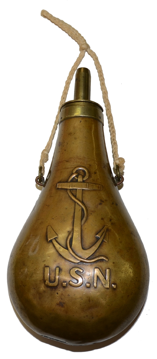 US NAVY FOULED ANCHOR POWDER FLASK BY AMES DATED 1843