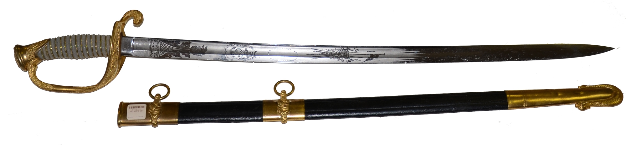 MINT AMES US NAVY MODEL 1852 OFFICER'S SWORD AND SCABBARD